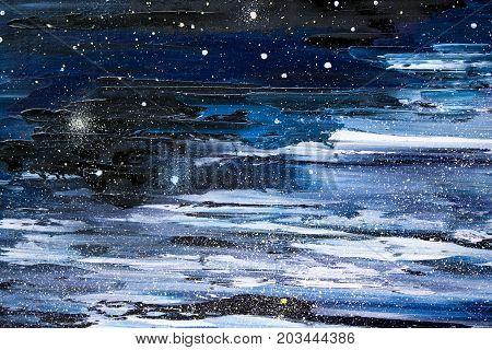 Oil painting starry sky dark night - Background