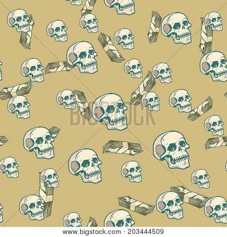 Death and money seamless pattern background. Business and Finance. pop art retro vector illustration