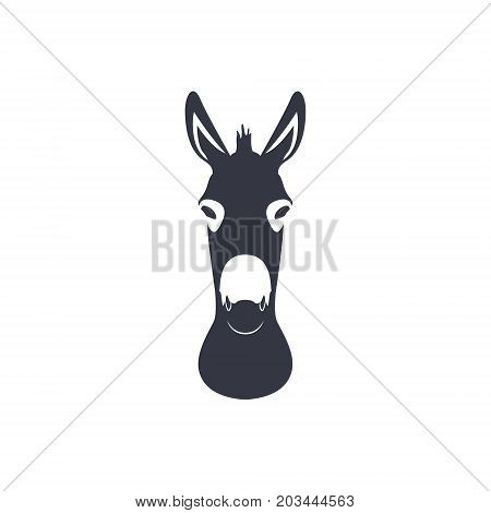 Dark blue silhouette head of a donkey. Vector illustration.