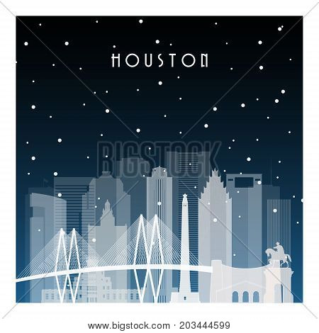 Winter night in Houston. Night city in flat style for banner poster illustration game background.