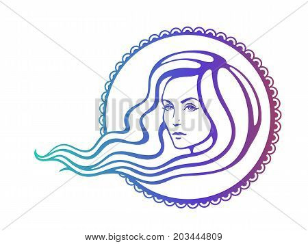 Vector illustration. Hand drawn colorful sketch of beautiful woman with long hairs that fluttering on the wind. Face of young girl at boho style. Fashion and hairstyle. Isolated on white background