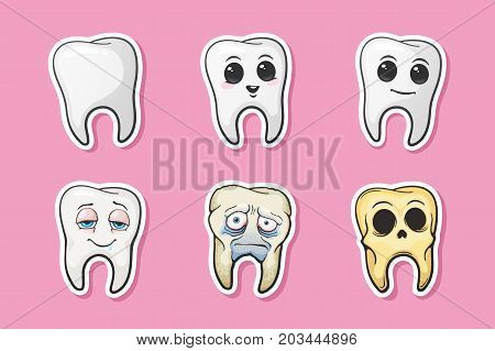 Vector illustration. Human tooth, happy tooth, sad sick tooth and skull of tooth. Symbols of oral hygiene. Set of stickers in cartoon style with contour. Isolated on pink background