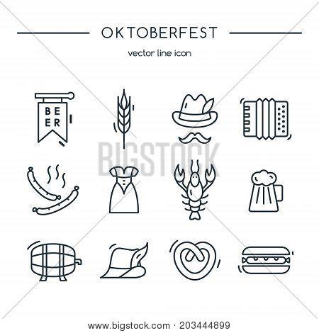 Oktoberfest icons line set. Design vector illustration.