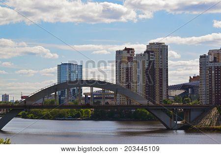 Khimki, Russia - May 30.2017 railway bridge across the Moscow Canal
