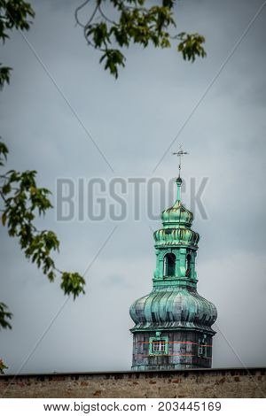 Tall bell tower of the Church of the Sacred Heart of Jesus in Bydgoszcz Poland