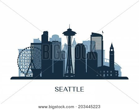 Seattle skyline monochrome silhouette. Design vector illustration.