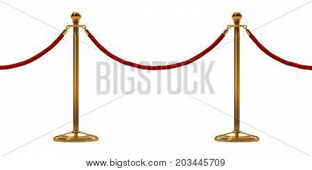 barrier rope isolated on white. Gold. Luxury VIP concept. 3d render