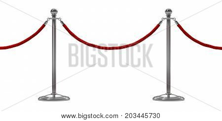 barrier rope isolated on white. Silver. Luxury VIP concept. 3d render
