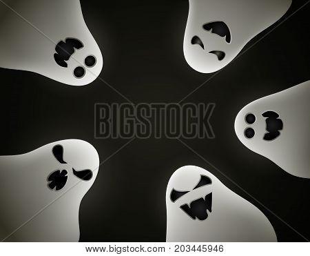 Dark Halloween background with ghosts. Vector illustration.
