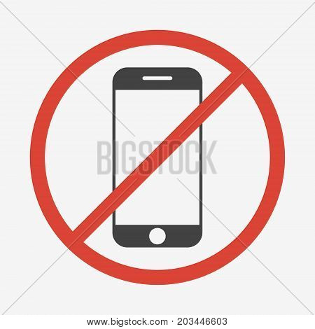 No mobile phone sign isolated on white background. Vector illustration.