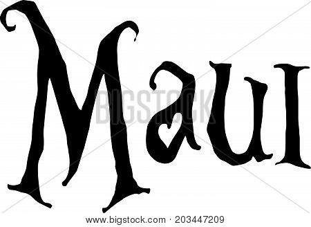 Maui Text Sign Illustration