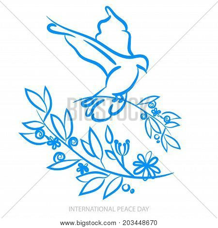 Vector Blue Background For International Day Of Peace. Concept Illustration With Dove Of Peace, Oliv