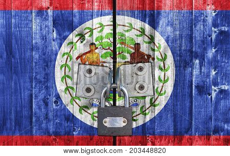 Belize flag on door with padlock close