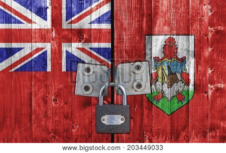 Bermuda flag on door with padlock close