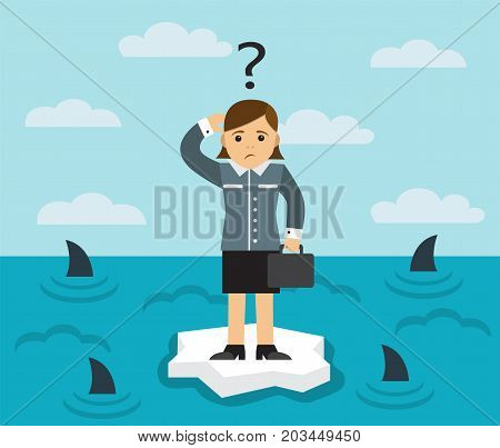businesswoman with briefcase standing on an ice floe in the middle of the sea in which the fins of sharks seen