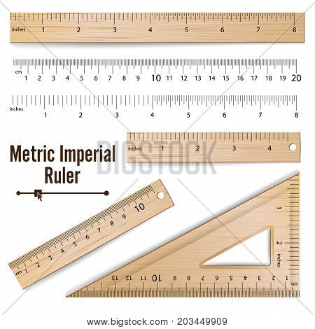 School Rulers Vector. Realistic Classic Wooden Metric Imperial Ruler. Centimeter And Inch. Measure Tools Equipment Isolated On White Illustration