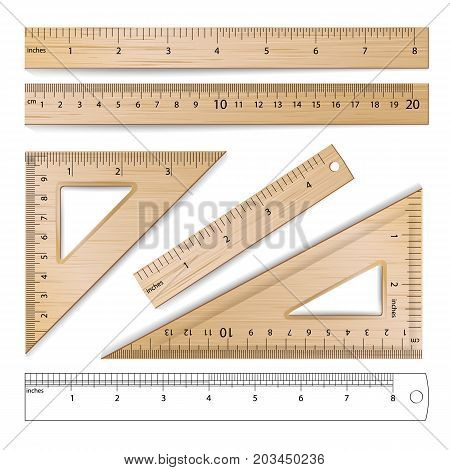 Wooden Metric Imperial Rulers Vector. Centimeter And Inch. Measure Tools Equipment Illustration Isolated On White Background.