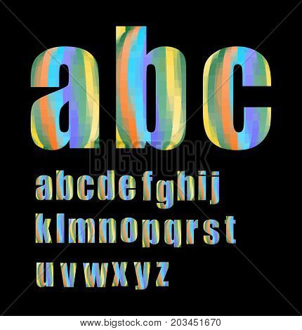 Pixel lowercase grunge alphabet in soft pastel colors, vector EPS 10