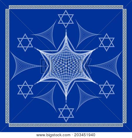 David star, white drawing on dark blue background, hatched design, symmetric ornament, decorative tile vector EPS 10