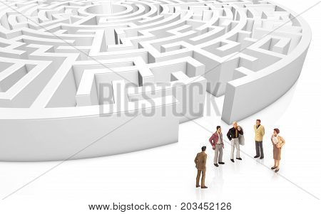 miniature people meeting in front a maze on a white background