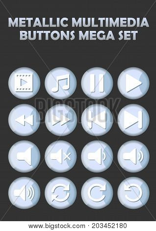 Metallic multimedia buttons set for website, elegant icons with pictogram symbols, vector EPS 10