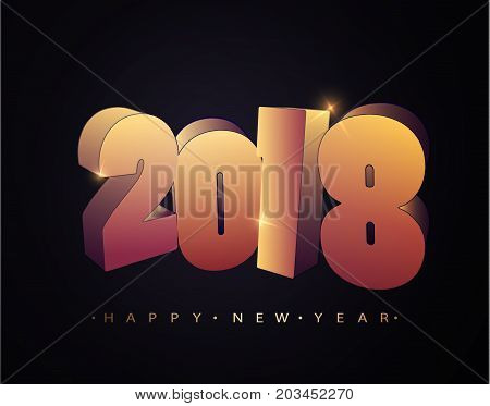 2018 Happy new year. Happy New Year Banner with 2018 Numbers. Gold 3d Numbers Design of greeting card of Falling Shiny Confetti. Vector 10 EPS
