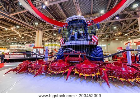 MOSCOW- OCTOBER 05, 2016: Forage harvester RSM F 2650 of the Russian company Rostselmash at the International Trade Fair AGROSALON, Crocus Expo