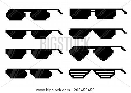 Glasses in pixel art style. A set of accessories for vision.