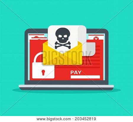 Letter on laptop with malware. Hacker attack virus - extortionist email fraud encrypted files. Concept of security on Internet.
