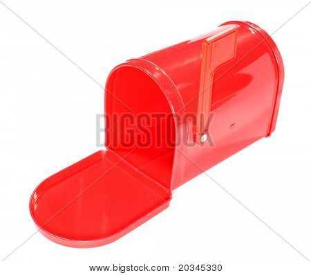 Red mailbox isolated on pure white background