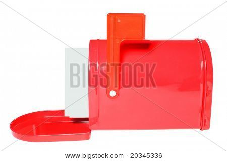White envelopes in red mailbox isolated on pure white background