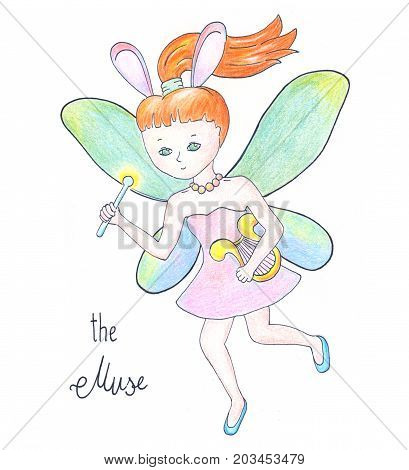 Fairy muse with wings on white background. Red hair girl flying handdrawn illustration. Muse girl with magic wand nursery print. Cute fairy cartoon character. Muse with arf comic drawing. Candy fairy