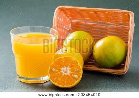 Tangerine orange fruit and juice, healthy eating