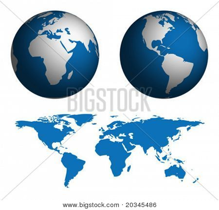 Globe and Map of the World.  Map was manually traced in illustrator from public domain world map.  No transparency.