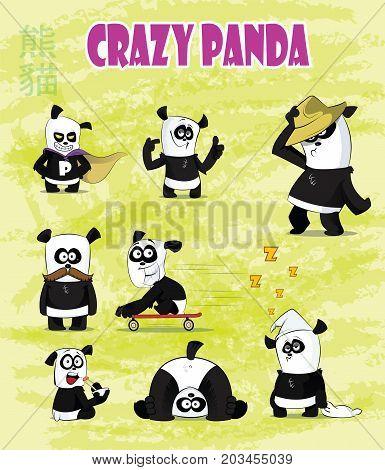 Set of cute and funny cartoon panda character. Cute panda bear character. First set. Vector