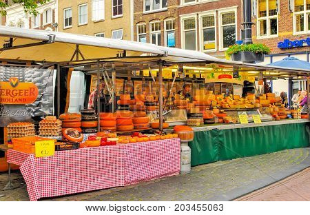 Fair of cheeses in the square in the city of Gouda in Holland. Holland, Gouda. June 23, 2012