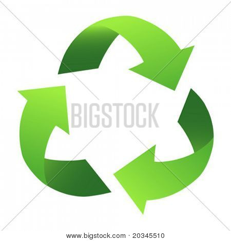 Green Recycle Sign, with gradient