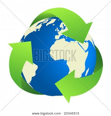 Recycling Earth. Map of the world traced from public domain map.