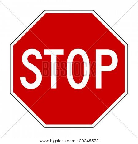 Vector illustration of Stop sign isolated on pure white