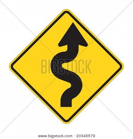 Road Sign - Curves ahead Warning