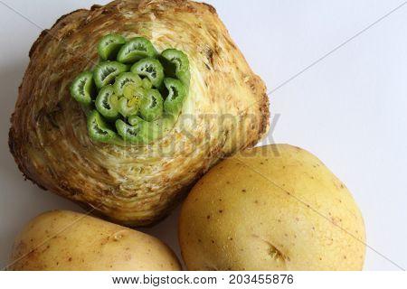 Celeriac and potatoes classic food pairing, horizontal aspect