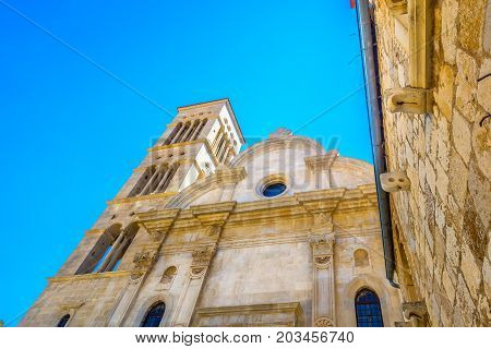 Closeup scenic view at cathedral public exterior in town Hvar, Croatia Europe.