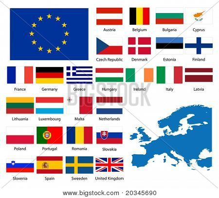 Detailed flags and map of European nations
