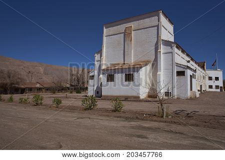 Pedro de Valdivia, Antofagasta Region, Chile - August 19, 2017: Theatre in the derelict nitrate mining town of Pedro de Valdivia in the Atacama Desert of northern Chile