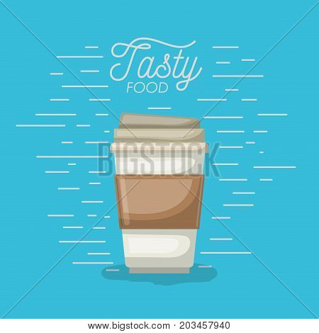 coffee disposable cup in tasty food poster in aquamarine background vector illustration