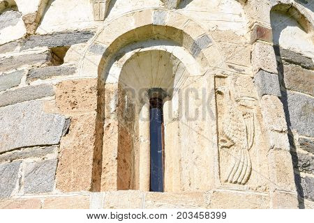 Leontica Switzerland - 17 April 2017: The Romanesque church of San Carlo di Negrentino in Leontica on canton Ticino Switzerland