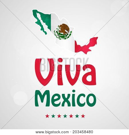illustration of Mexico map in Mexico flag background with Viva Mexico text on the occasion of Mexico Independence Day