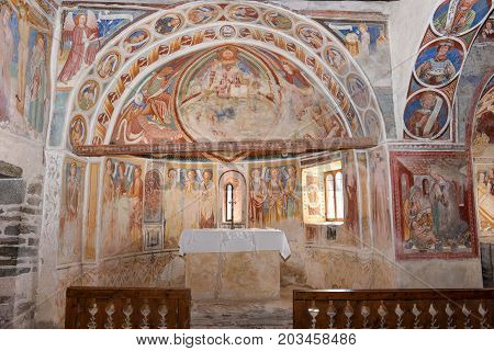 Frescoes Inside The Church Of San Carlo Di Negrentino, Switzerland