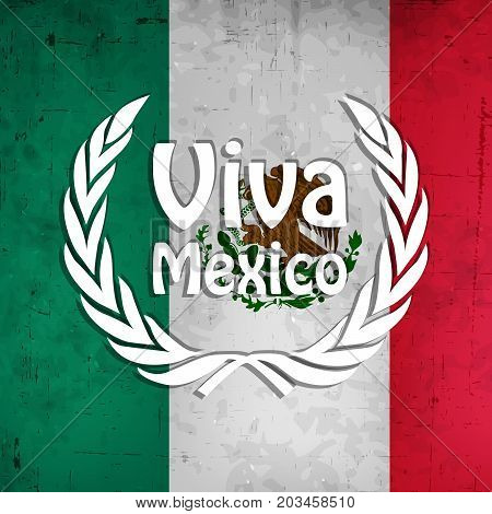 illustration of Viva Mexico text on Mexico flag background on the occasion of Mexico Independence Day