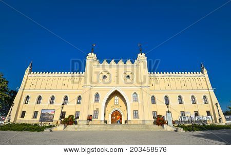 Lublin, Poland - August 11, 2017: The Royal Castle of Lublin, Poland and bright blue sky. Lublin is the biggest city in eastern Poland.